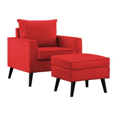 Mid Century Microfiber Accent Chair With Ottoman, Red