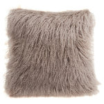 """Fibre by Auskin - Tibetan Lambskin 16"""" Cushion, Birch - Tibetan lambskin cushions are the epitome of luxury. Soft and textural, these cushions are an amazing accent to any room of your home. Backed with a cotton velvet fabric with a zipper and filled with a polyester insert."""
