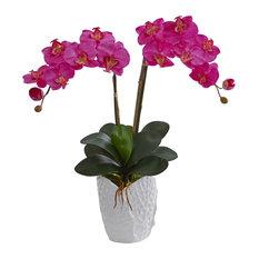 Double Phalaenopsis Orchid Artificial Arrangement, White Vase, Dark Pink