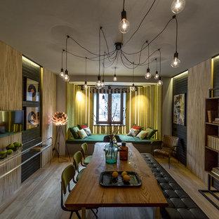 Удачное сочетание для дизайна помещения: отдельная столовая в стиле лофт с черными стенами, светлым паркетным полом и бежевым полом без камина - самое интересное для вас