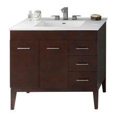 """Ronbow 36"""" Venus Solid Wood Vanity Set With Ceramic Sink Top"""