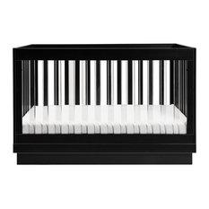 Harlow Acrylic 3-in-1 Convertible Crib, Toddler Bed Conversion Kit, Black