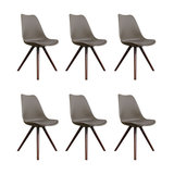Scandi Style Dining Chair, Pyramid Walnut Legs, Dark Taupe, Set of 6