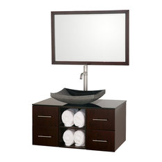 "Abba 36"" Bathroom Vanity Espresso, Smoke Glass Top, Black Granite Sink"