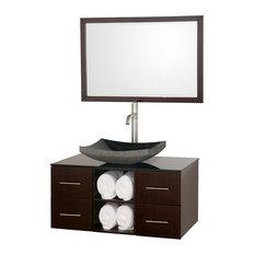 "Abba 36"" Bathroom Vanity Espresso, Smoke Glass Top, Black Granite Sink"