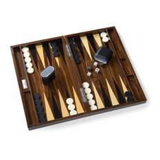 Wilouby - Lacquered Wooden Backgammon Set, Brown - Board Games and Card Games