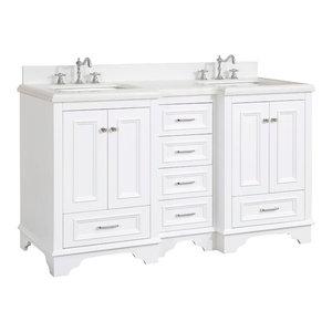 "Nantucket 60"" Bath Vanity, Base: White, Top: Quartz, Double Vanity"