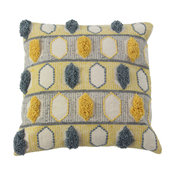 Gray and Yellow Square Throw Pillow With Pom Poms and Geometric Design