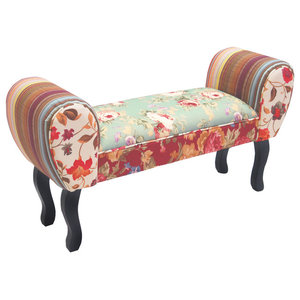 Roses Shabby Chic Chaise Stool, Multi-Coloured