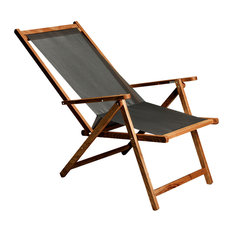 Demetra Sun Lounger With PVC Seat, Walnut Stain