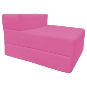 Modern Single Fold Out Z-Design Bed Chair, Pink Cotton, Soft and Comfortable