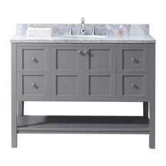 Winterfell 48-inch Single Bath Vanity Gray Marble Top Sink Brushed Nickel Faucet