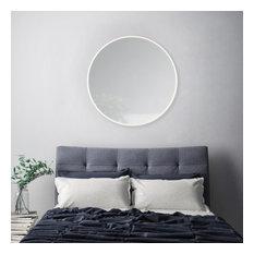 """Tivoli Metal Frame Round Mirror 28"""", Ivory"""