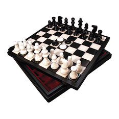 Black and White Alabaster Chest, Chess and Checkers Set