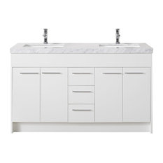 "Lotus 60"" White Double Sink Bathroom Vanity, Without Faucet"