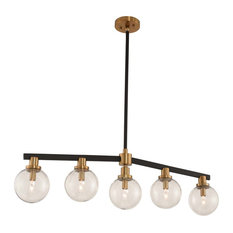 Cameo 5 Light Island, Matte Black Finish with Brushed Pearlized Brass