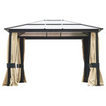 Outsunny - Outsunny 12'x10' Outdoor Patio Gazebo Canopy With Mesh and Curtains, Beige - Outdoor living isn't always so glamorous. With relentless sun, unexpected weather and bugs to consider, it's smart to have another option that doesn't force you back inside. Enter the Outsunny 12 x10 Gazebo. This piece is a durable and weatherproof addition to your yard that comes with mesh screens, thick polyester curtains and a double poly-carbonate roof. This structure is soundly built with a sturdy steel frame and includes anchors that secure it to the ground. The cherry on top? The Outsunny 12 x10 Gazebo's versatile look pairs perfectly with any outdoor design scheme, so you can find refuge from sun, rain and pesky insects no matter your style of decorating.