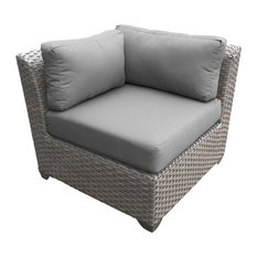 TK Classics Florence Patio Corner Chair in Gray (Set of 2)