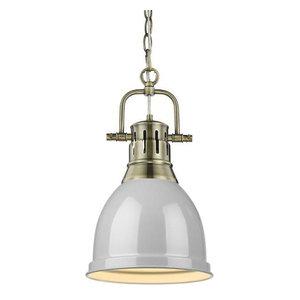 Golden Lighting 3602-L PW-GY One Light Pendant Gold//Gray