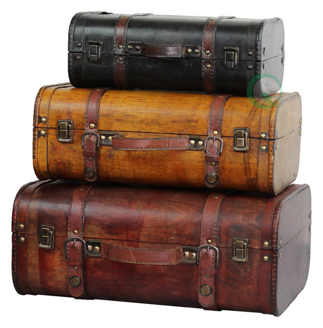 3 Piece Colored Vintage Style Luggage Suitcase Set