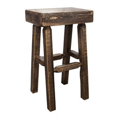 Homestead Collection Half Log Barstool Stain And Clear Lacquer Finish