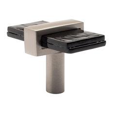 Sietto Adjustable Black Glass Knob With Metal Base, Satin Nickel