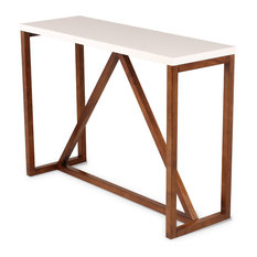 Kaya Wooden Console Table, White and Walnut Brown