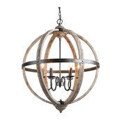 Globe Wood Chandelier 6-Light Pendant