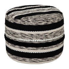 Black and White Pouf Ottoman