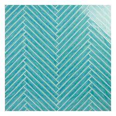 "Nantucket 2"" x 20"" Polished Ceramic Wall Tile, Turquoise"