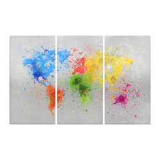 3-Piece Paint Splatter World Map Framed Print, 150x100 cm