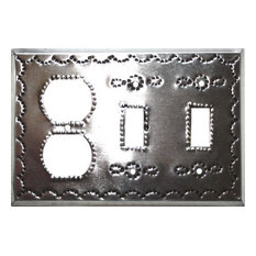 Double Toggle-Outlet Silver Tin Switchplate