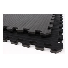 "24""x24"" Tatami Martial Arts Flooring Foam Tiles, Set of 10, Black/Gray"