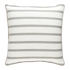 Transitional Accent Pillow, Light Gray and White Color