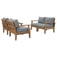 Marina 4-Piece Outdoor Premium Grade A Teak Wood Set, Natural Gray