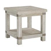 Carynhurst Casual White Wash Gray Rectangular End Table
