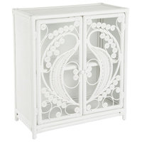 Rattan Peacock Storage Cabinet with 2 Doors, White