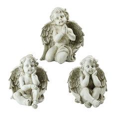 """Set of 3 Sitting Cherub Angel Decorative Outdoor Garden Statues 11"""""""