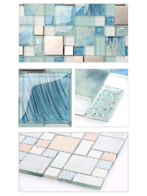 Painted Blue Glass Tile Mosaics Metal Stainless Steel Silver Kitchen  Backsplash
