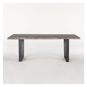 "80"" Dining Table Live Edge Solid Acacia Metal Legs Weathered Gray Modern"