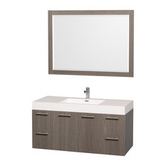 "Amare Gray Oak Vanity, Mirror, 48"", Integrated, Acrylic-Resin"