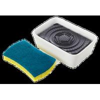 Bubble Up Soap Dispenser/Dish Sponge Set, White