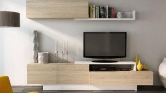 Mur TV MONTY avec rangements - Blanc & chêne