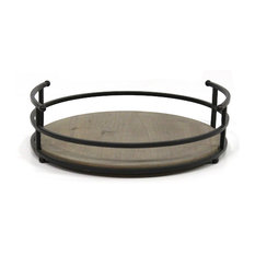Stratton Home Decor Metal and Wood Tray