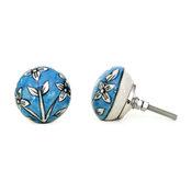 Ceramic Knob With Big White Flower on Blue