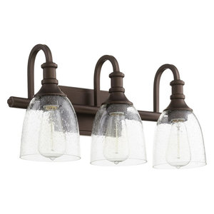 """Richmond 3-Light 20"""" Oiled Bronze Vanity Light, Oiled Bronze With Clear/Seeded"""