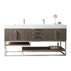 Columbia 72-inch Double Vanity Ash Gray Cabinet Only(No Top)