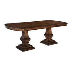 Pastry Table Tuscan Italian Rustic Pecan Solid Wood Double Pedestal