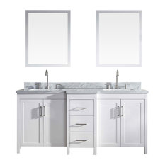 "Ariel Hollandale 73"" Double Sink Vanity Set, Black, White"