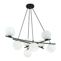 "Perch 41"" Chandelier With 8 Lights, Acid Dipped Black"